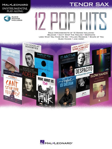12 Pop Hits - Tenor Saxophone - Online Audio - Hal Leonard