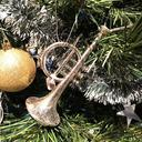 [70808540] Christmas decoration - large trumpet silver.