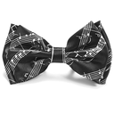 [708084755] Bow tie - Black with white manuscript. Polyester.