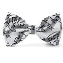 [708084756] Bow tie - White with black manuscript. Polyester.