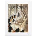 [708084153] Print - The New Yorker - The Orchestra by Coulisse.  Image of the orchestra preparing to go on stage. 40X50 Sempe