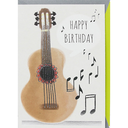 "[708084281] ***WAS $5.95***Greeting card - ""Happy Birthday"" brown guitar with silver strings & silver notes. Rough Elegance"