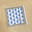 [708084136] ***WAS$7.50***Greeting card - Silver guitar on Blue diamond pattern. Lissie Lou.