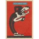 [708084139] Greeting card - To a great Dad. Musician dressed in black playing the saxophone with a red background. Vintage Matchbox.